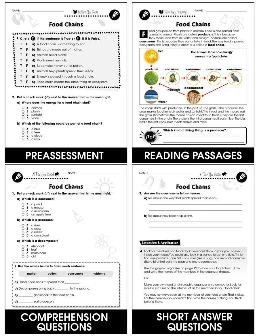 Animal Food Chain Worksheets Hands Life Science Food Chains Gr 1 5 Grades 1 to 5