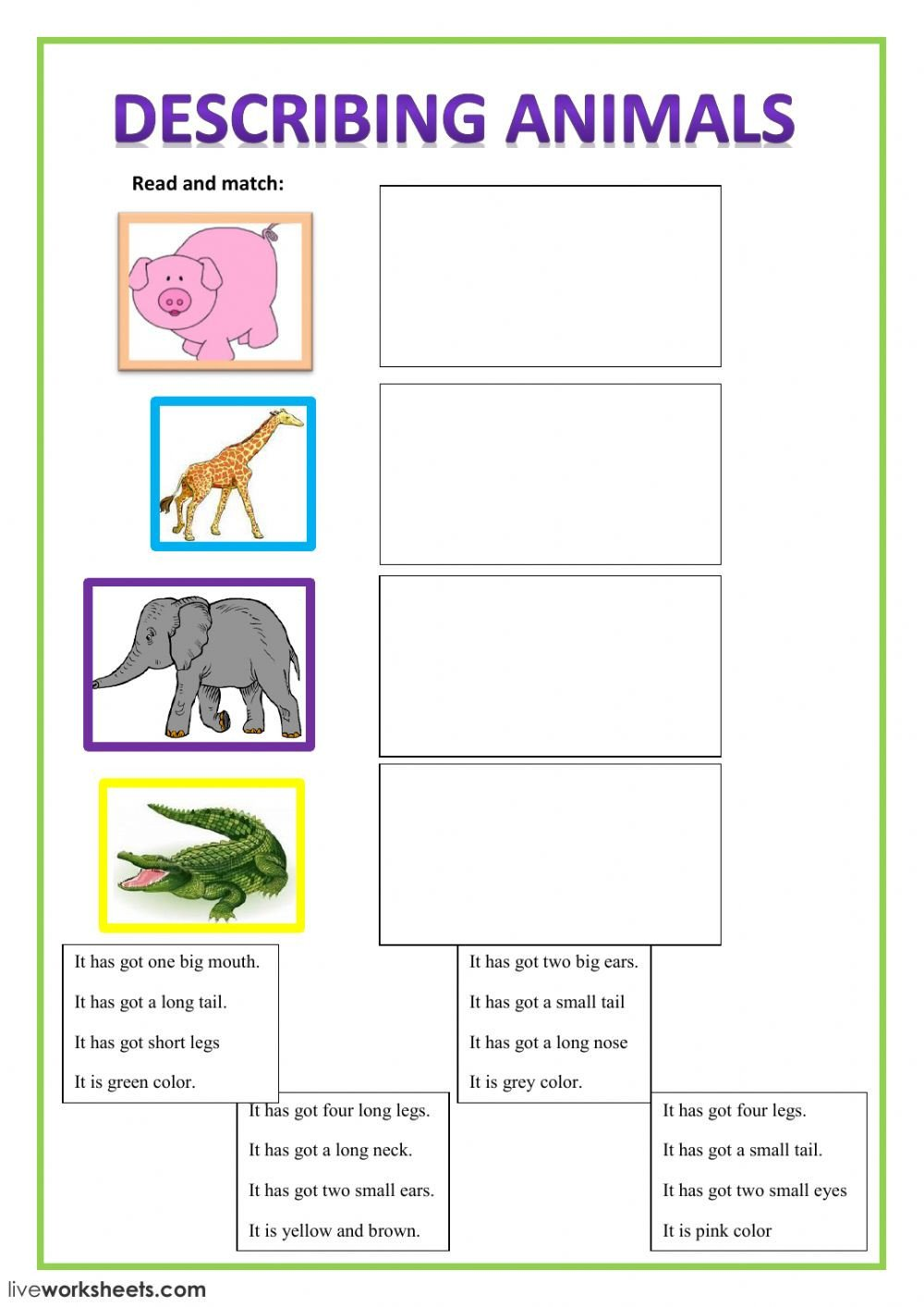 Animals In Spanish Worksheets Describing Animals Interactive Worksheet