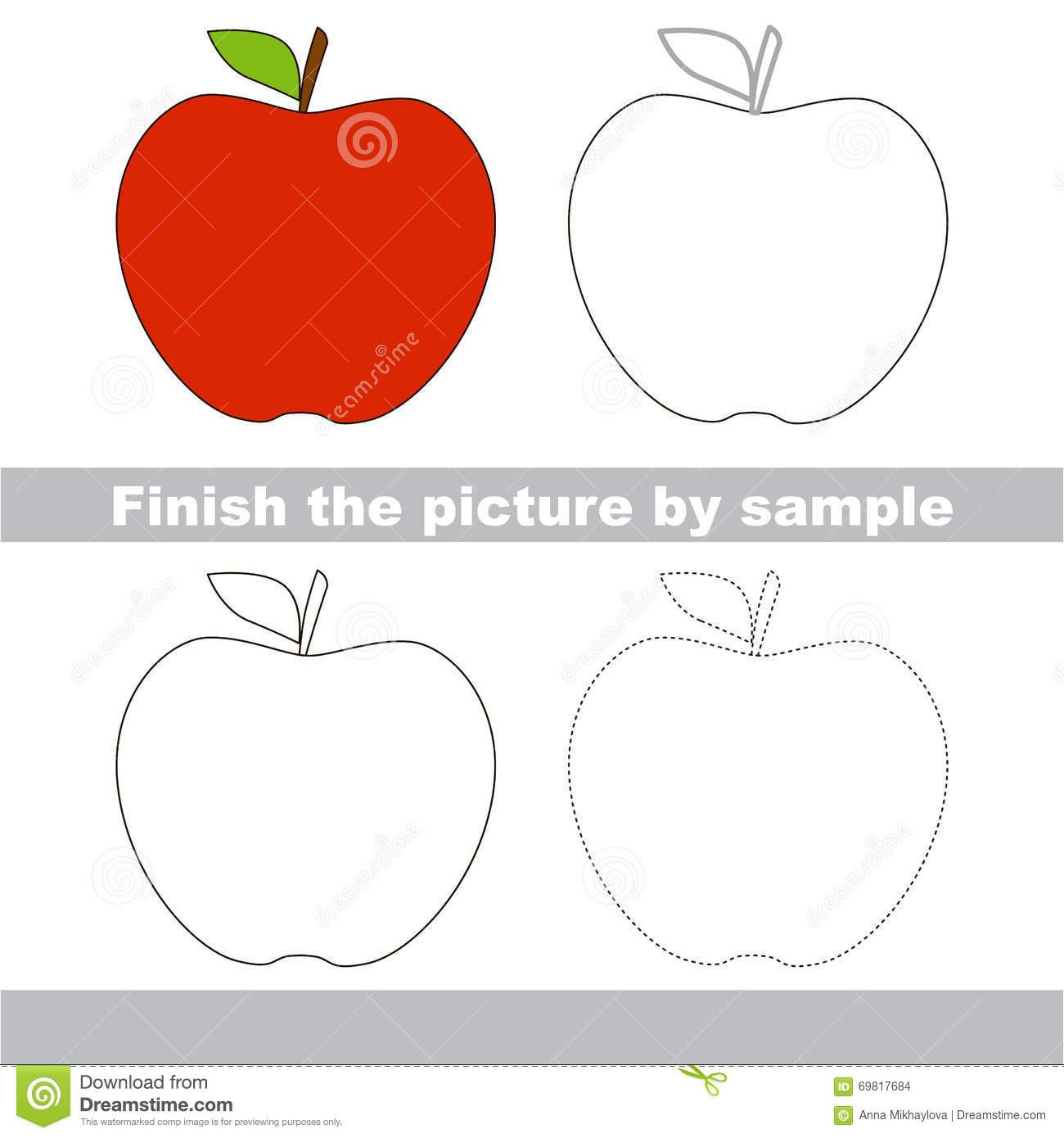 apple drawing worksheet children finish picture draw cute