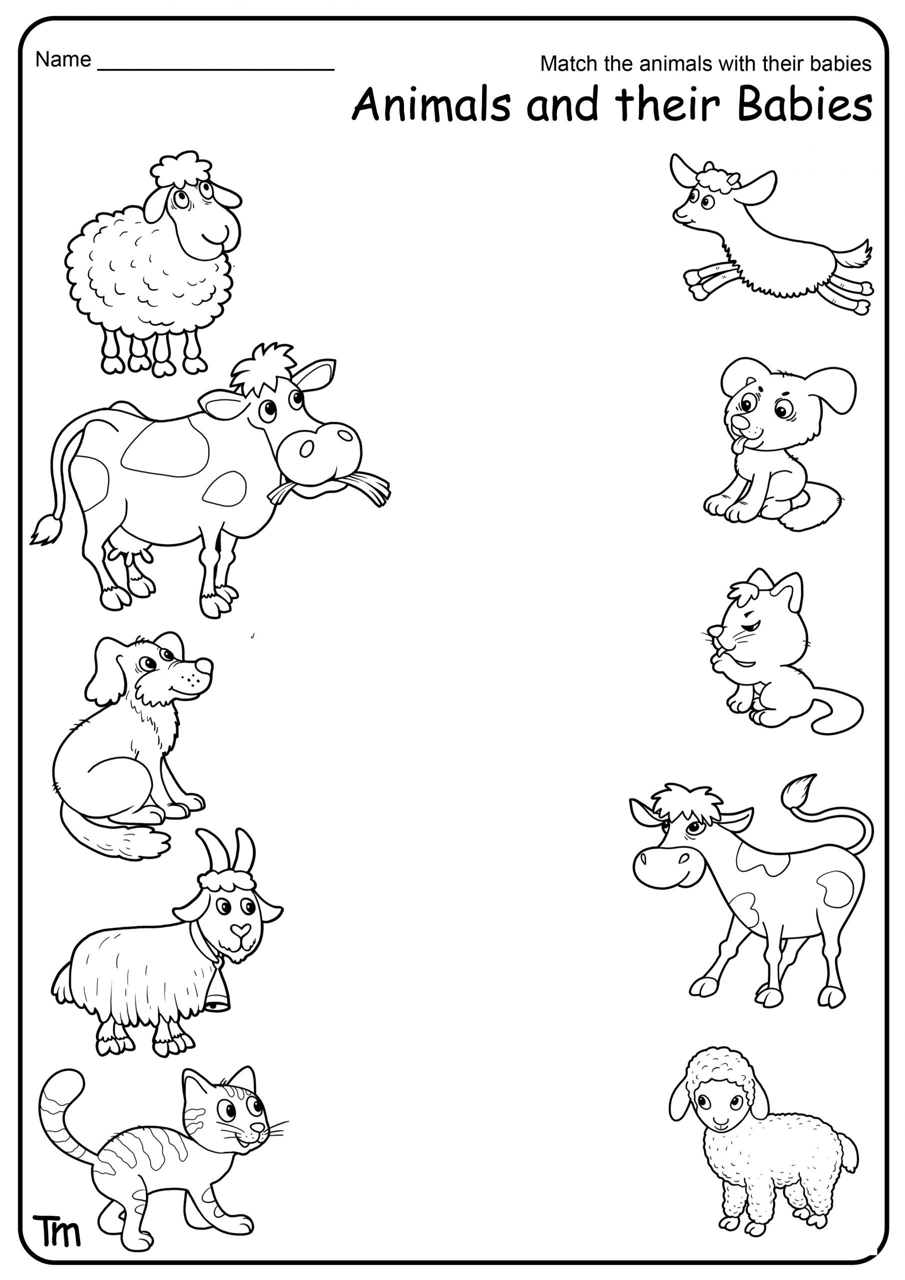 Baby Animals Names Worksheet Farm theme Preschool