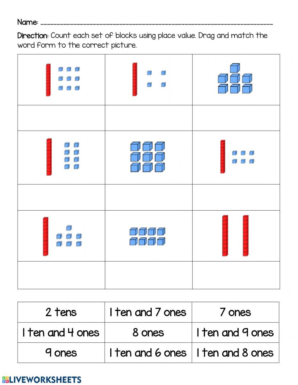 Base Ten Worksheets Kindergarten Base 10 Place Value Interactive Worksheet