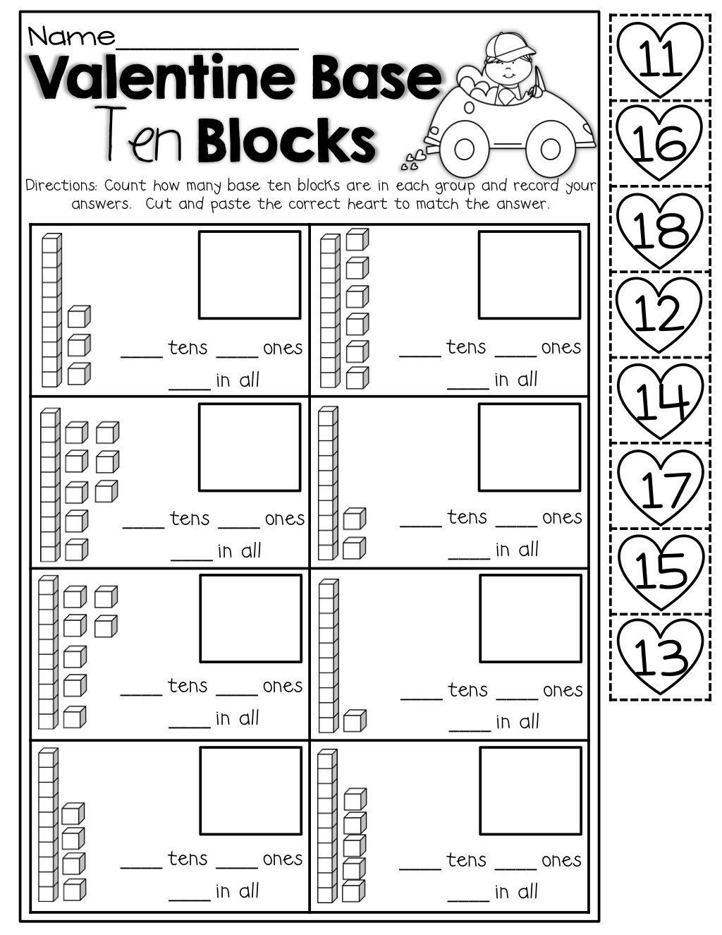 Base Ten Worksheets Kindergarten Bundle Ten Worksheets