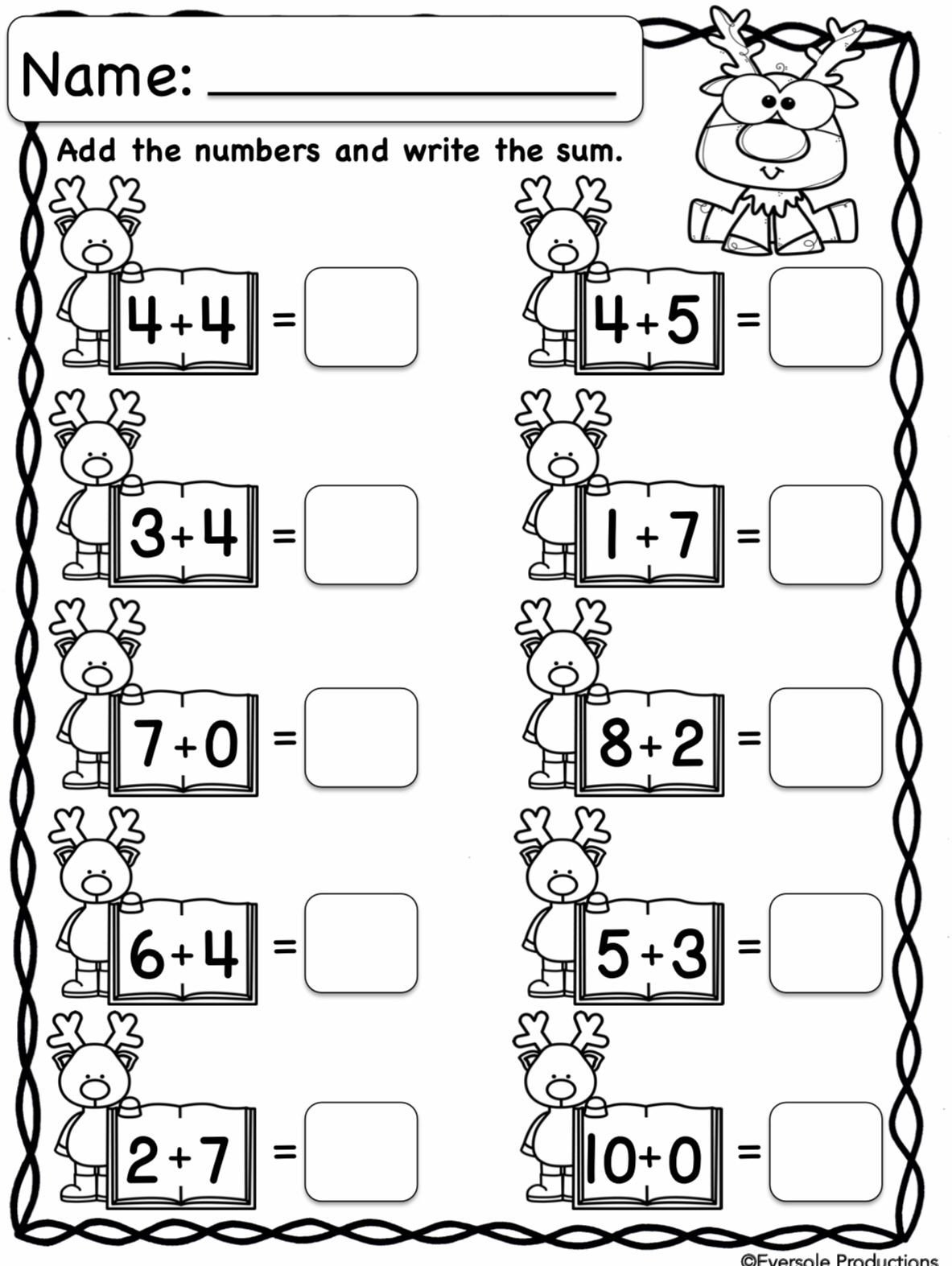 Base Ten Worksheets Kindergarten Christmas Math Adding and Subtracting within 10 No Prep