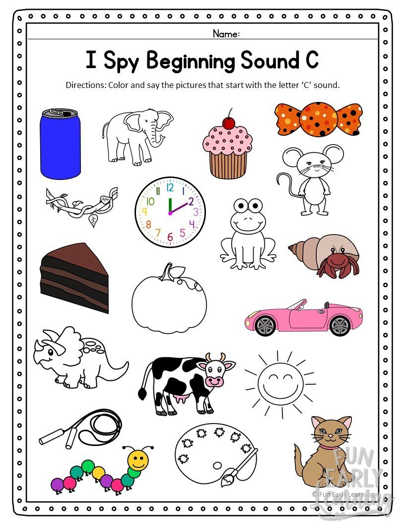 Beginning sound Worksheets Kindergarten I Spy Beginning sounds Activity Free Printable for Speech