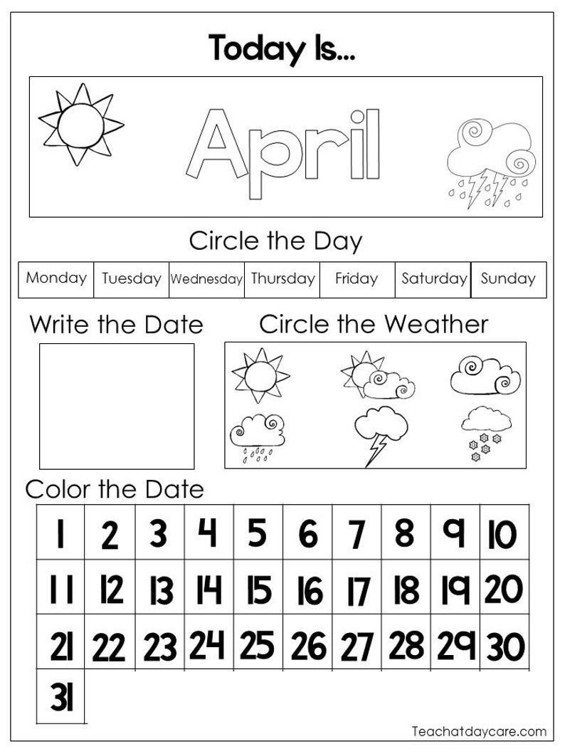 Calendar Worksheet for Kindergarten 12 Printable Preschool Calendar Worksheet Pages Month Day