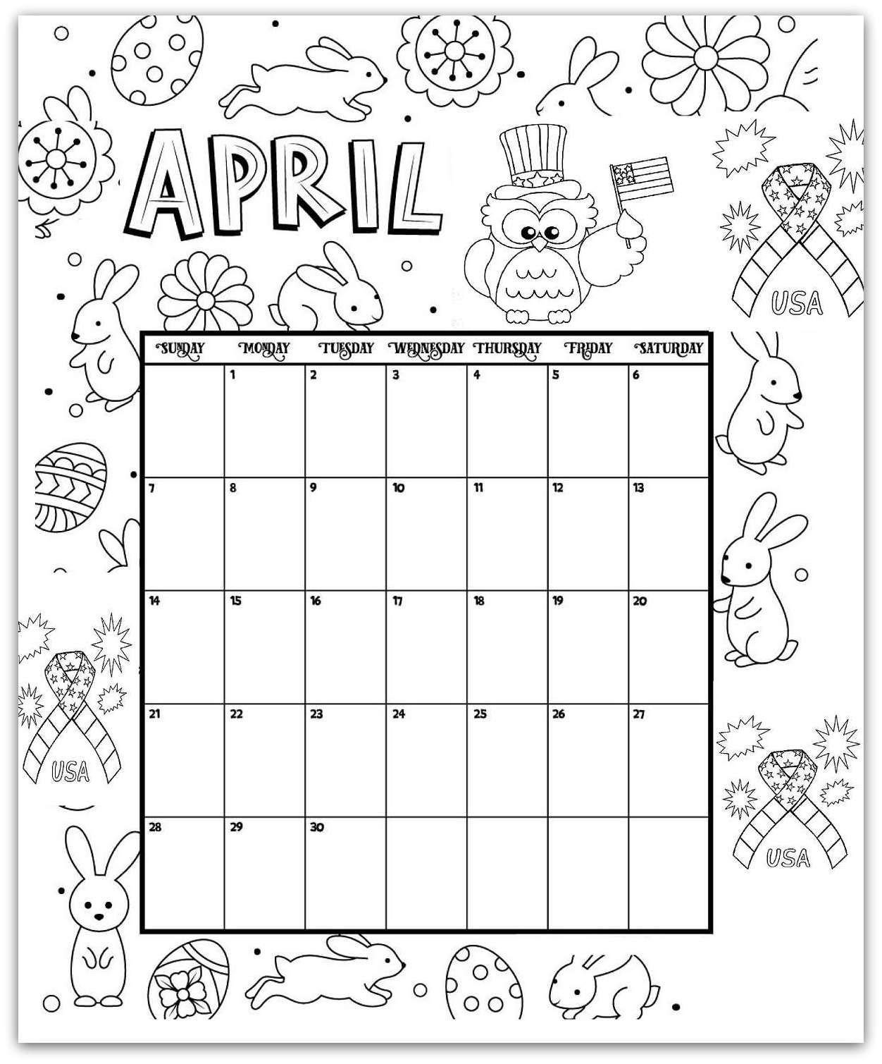 Calendar Worksheet for Kindergarten 2019 Coloring Pages Printable Monthly Calendars for Kids