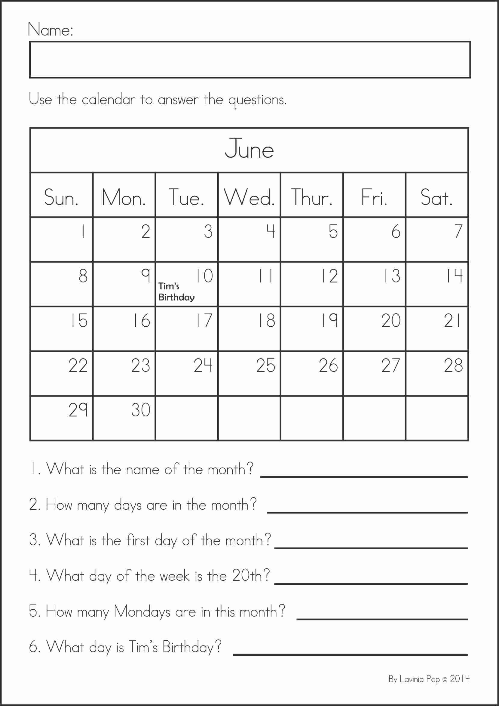 Calendar Worksheet for Kindergarten Summer Review Math & Literacy Worksheets & Activities 104