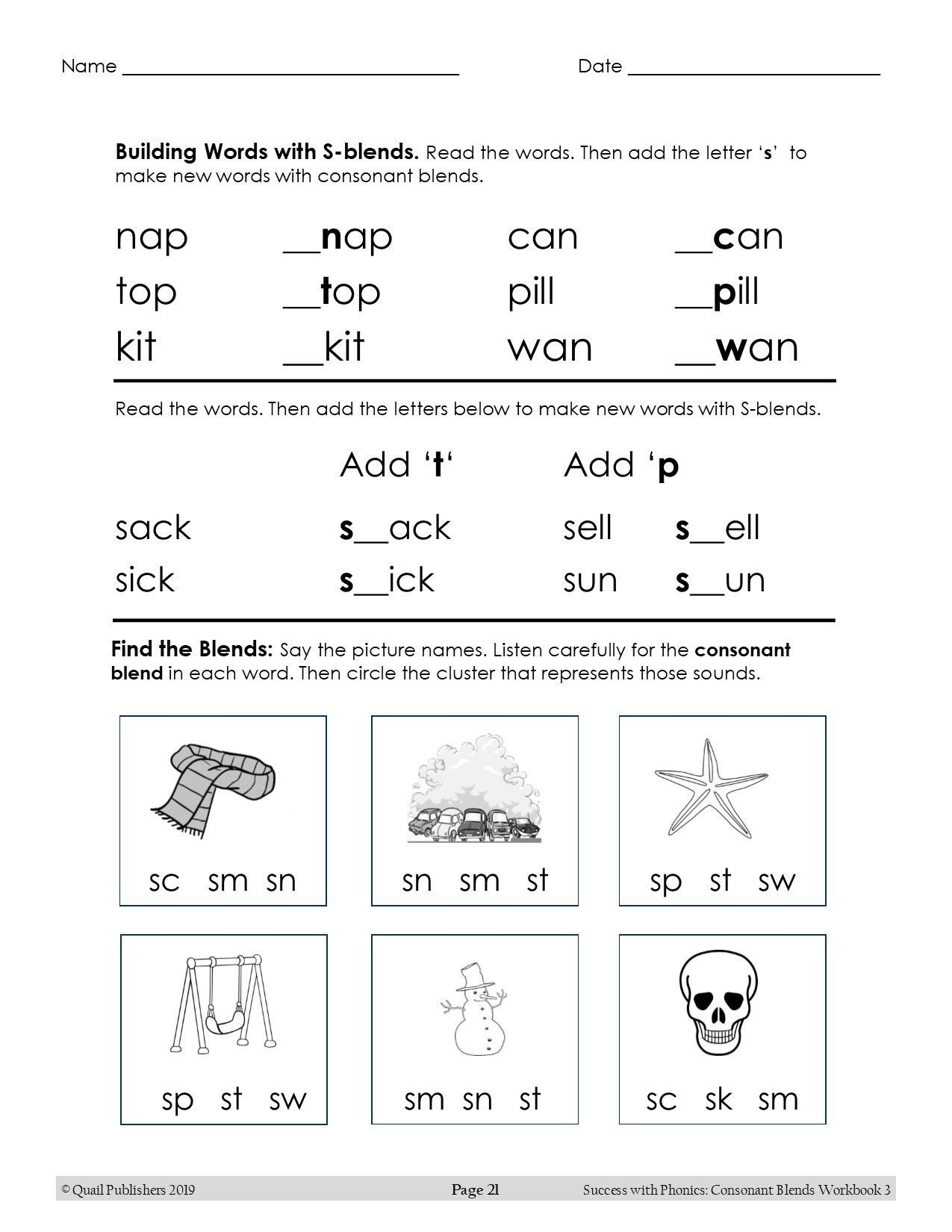 Ccvc Words Worksheets Kindergarten Consonant Blend S Blends