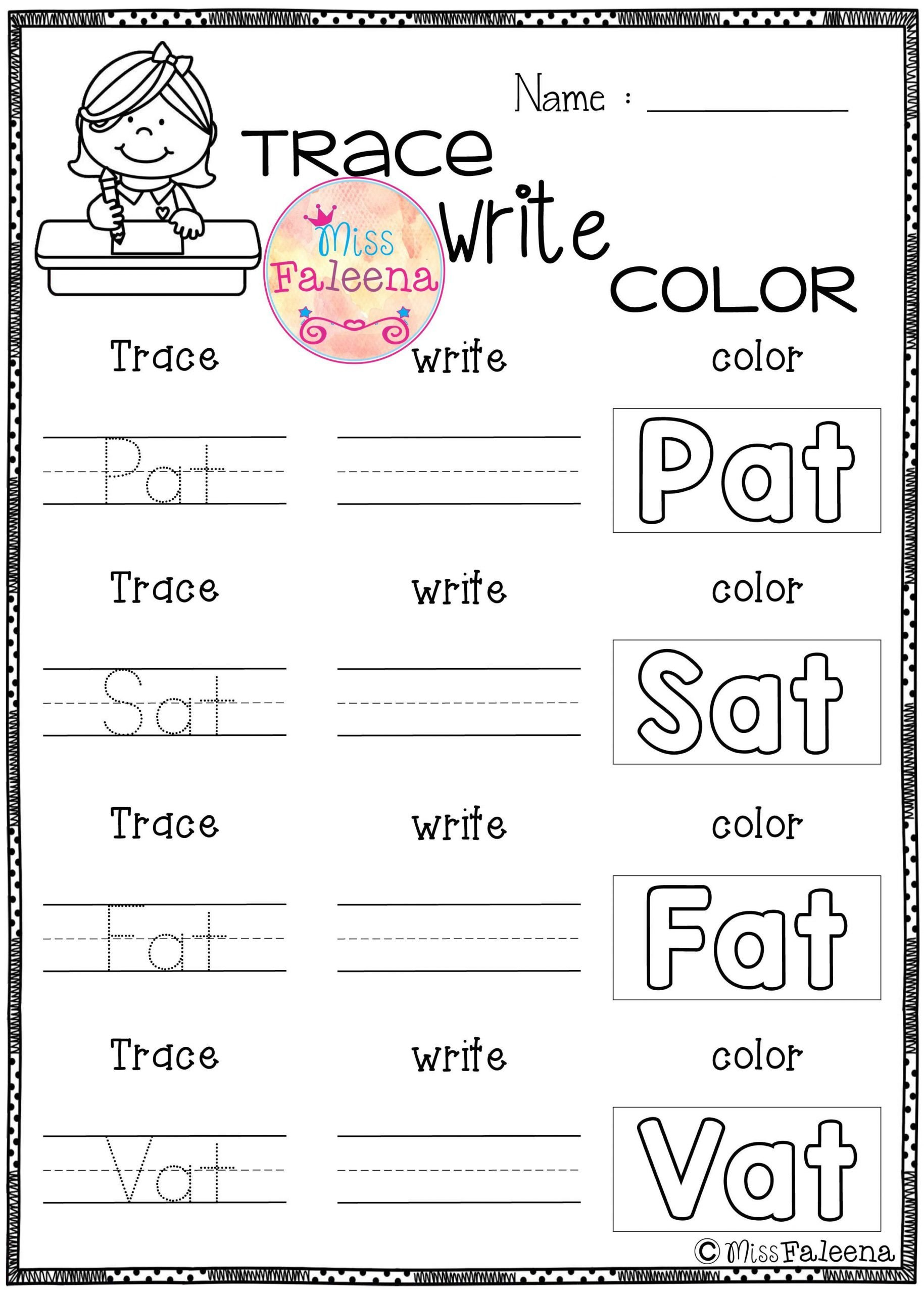 Ccvc Words Worksheets Kindergarten Cvc Word Short A Exercise