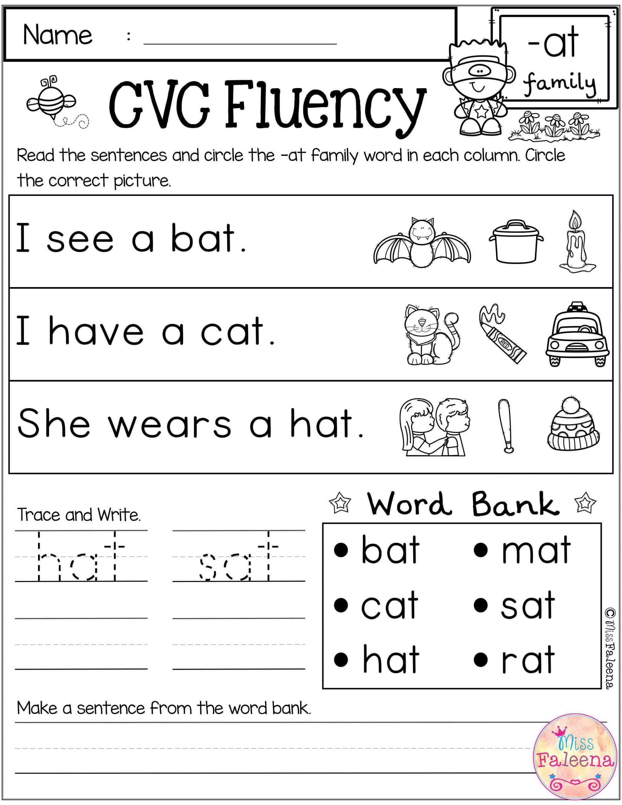 Ccvc Words Worksheets Kindergarten Free Cvc Fluency