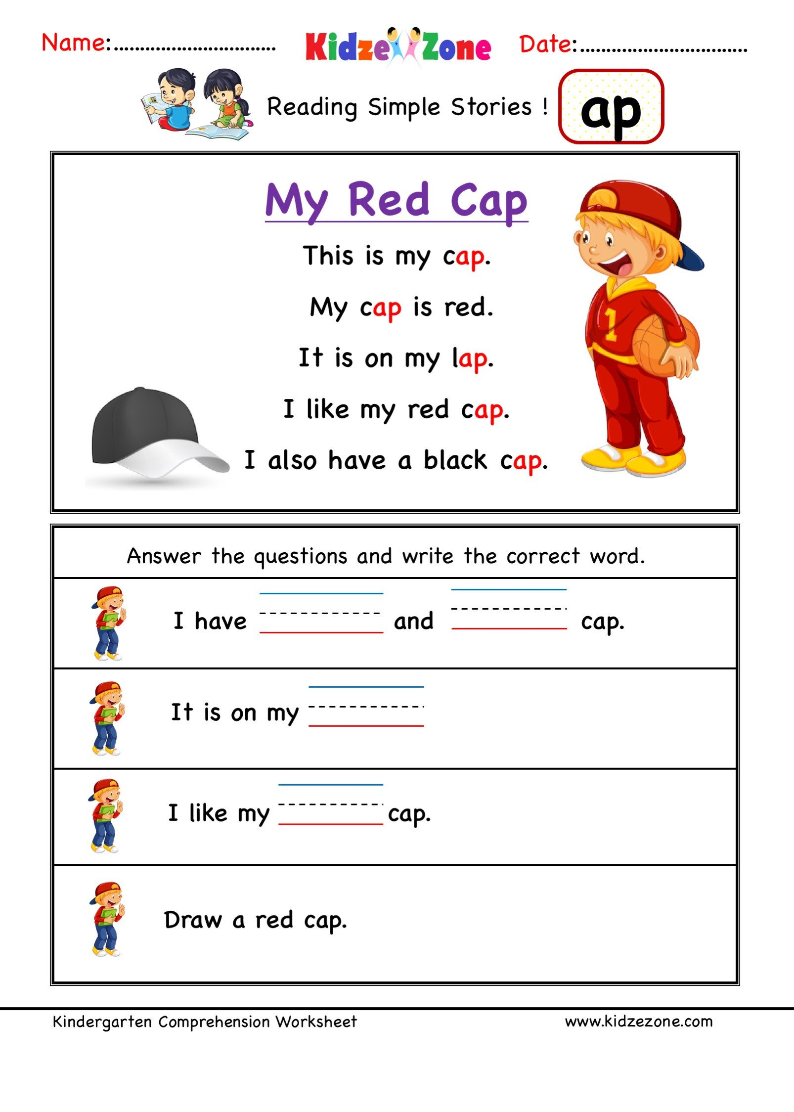 Ccvc Words Worksheets Kindergarten Kindergarten Worksheets Ap Word Family Reading Prehension 4