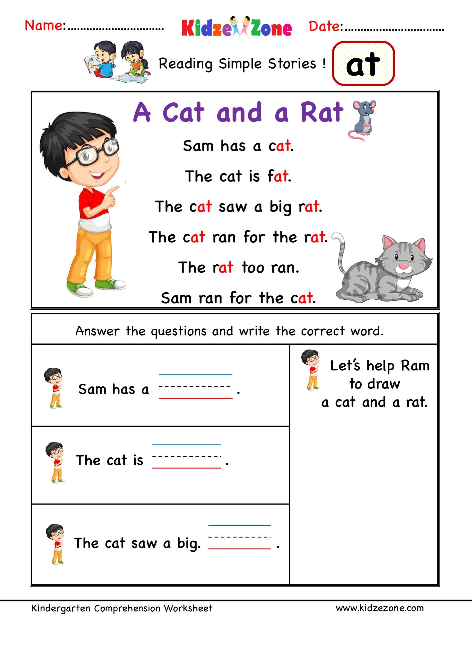 Ccvc Words Worksheets Kindergarten Kindergarten Worksheets at Word Family Reading Prehension
