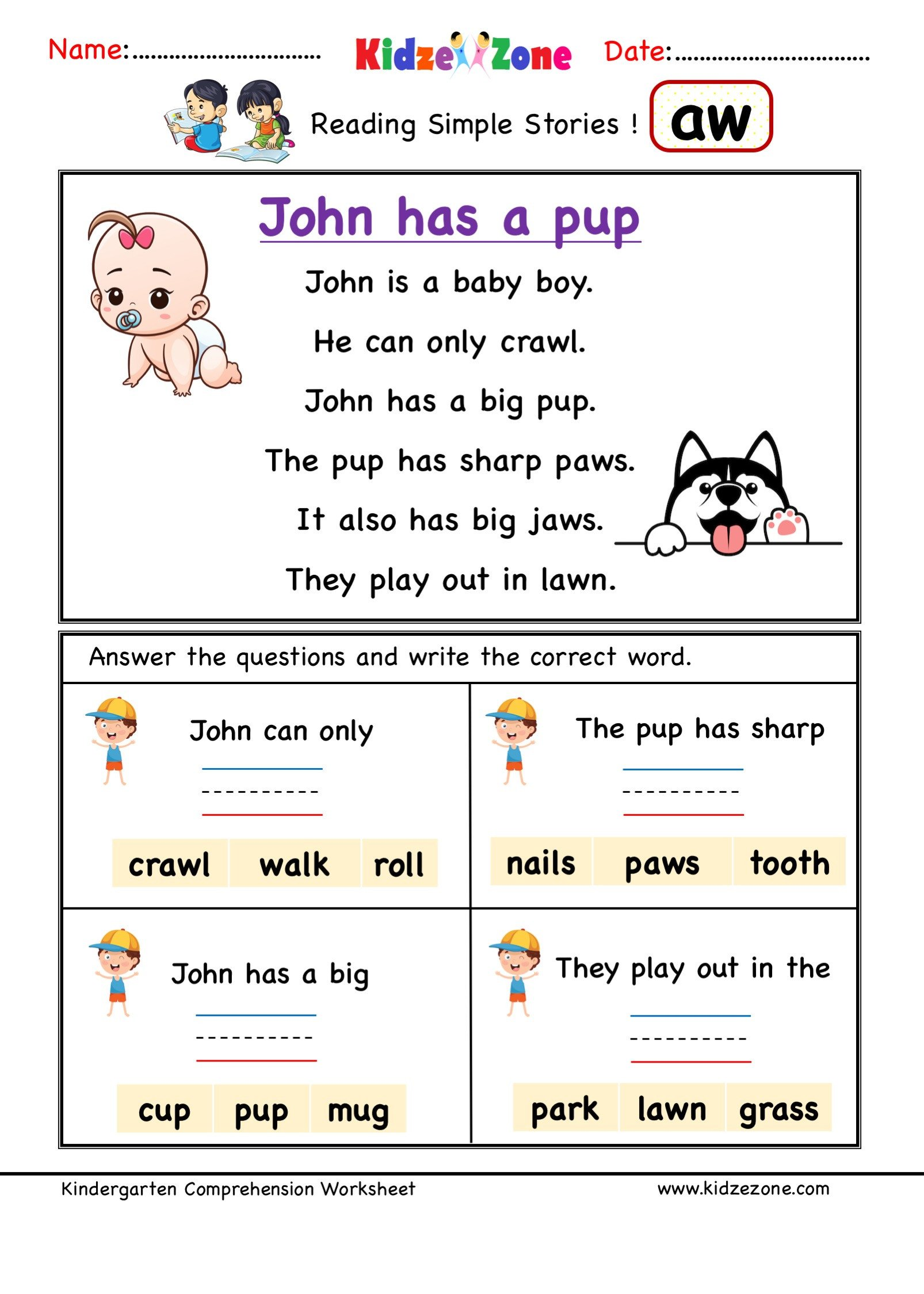 Ccvc Words Worksheets Kindergarten Kindergarten Worksheets Aw Word Family Prehension 2