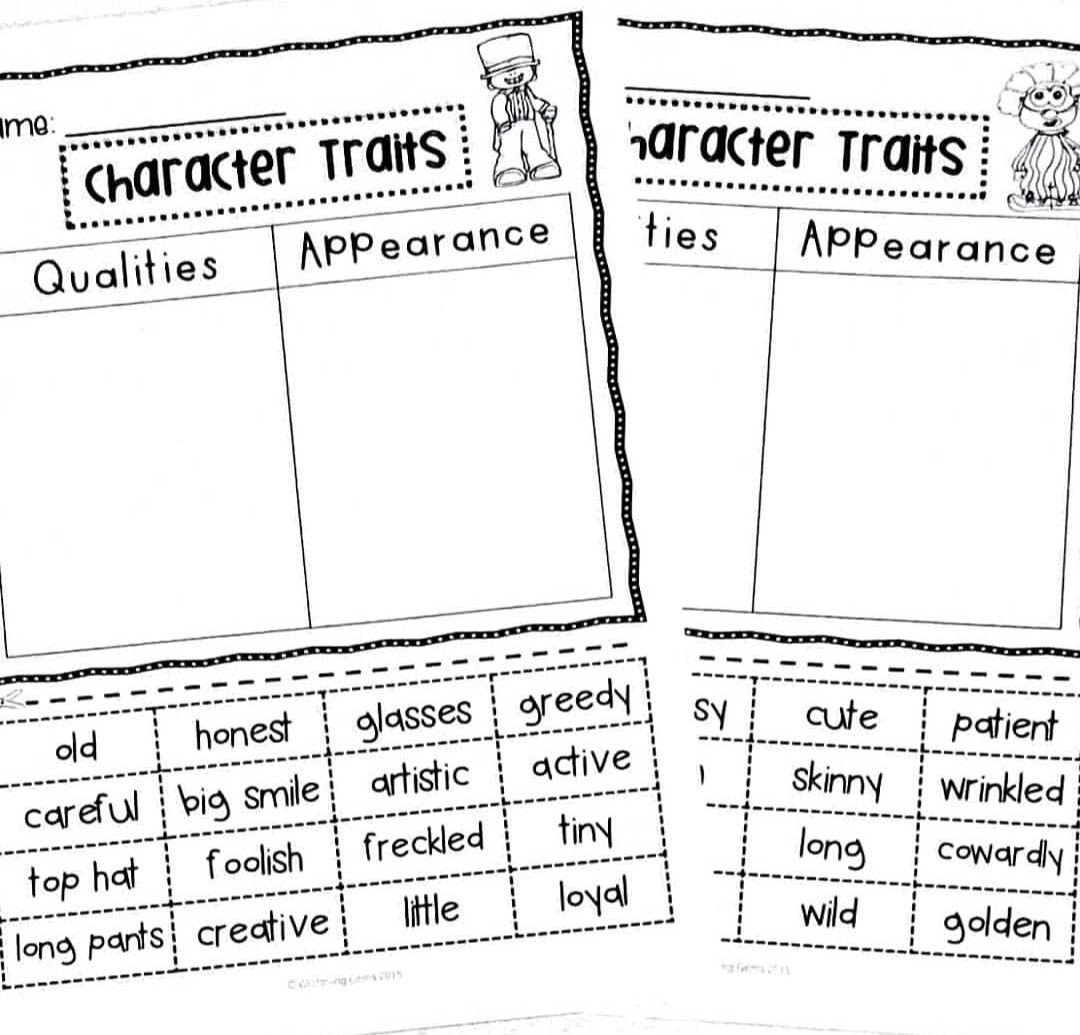Character Worksheets for Kindergarten Character Traits