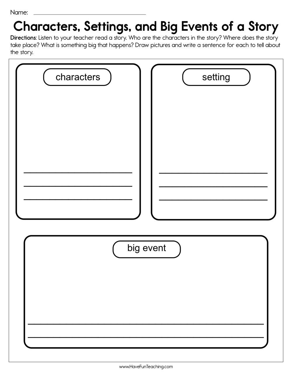Character Worksheets for Kindergarten Characters Settings and Big events Worksheet