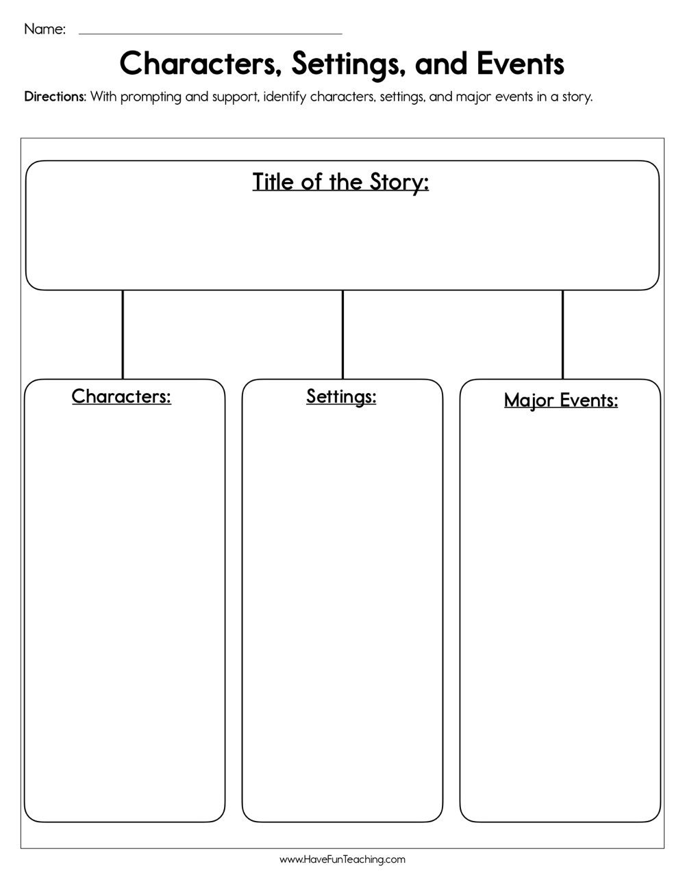 Character Worksheets for Kindergarten Characters Settings and events Worksheet