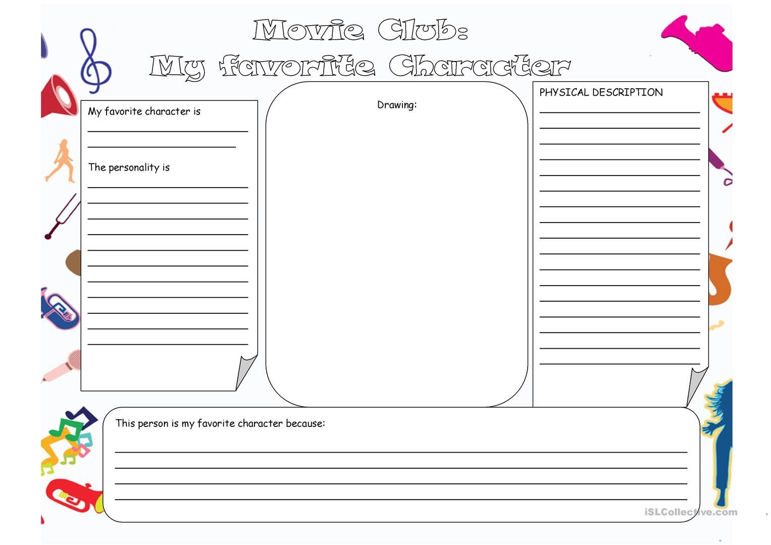 Character Worksheets for Kindergarten My Favorite Character English Esl Worksheets for