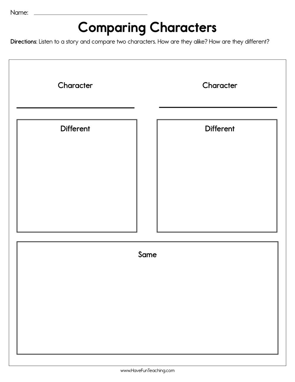 Character Worksheets for Kindergarten Paring Characters Worksheet