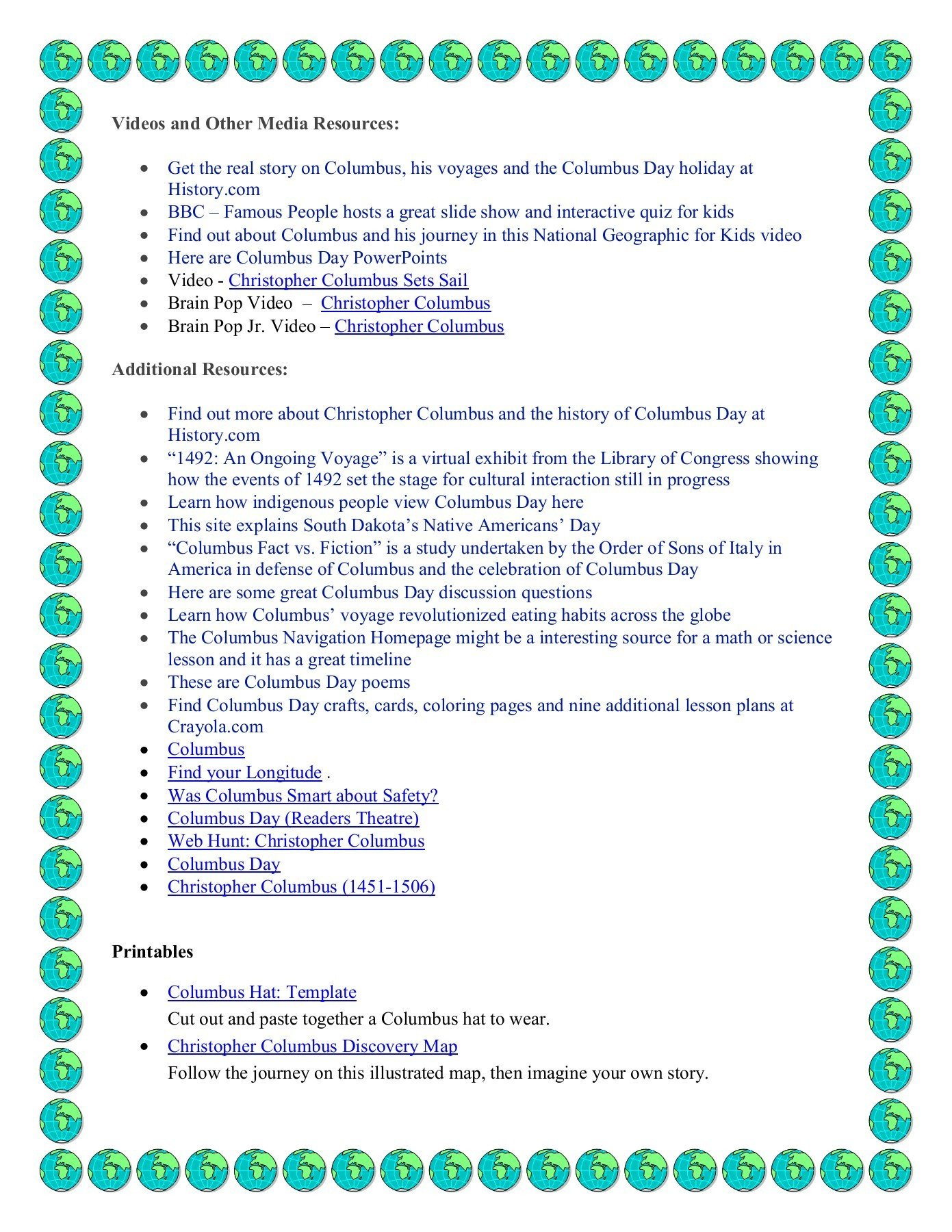 Christopher Columbus Worksheets for Kindergarten Columbus Day Elementary Resources Pages 1 3 Text Version
