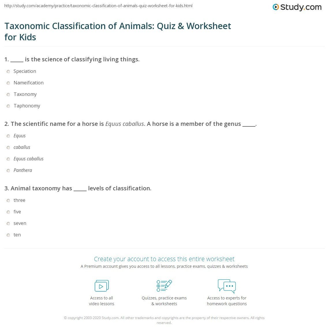 Classification Of Animals Worksheet Taxonomic Classification Of Animals Quiz & Worksheet for