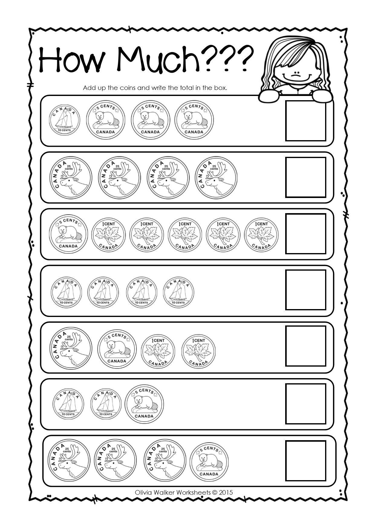 Coins Worksheets for Kindergarten Canadian Money Worksheets Printables
