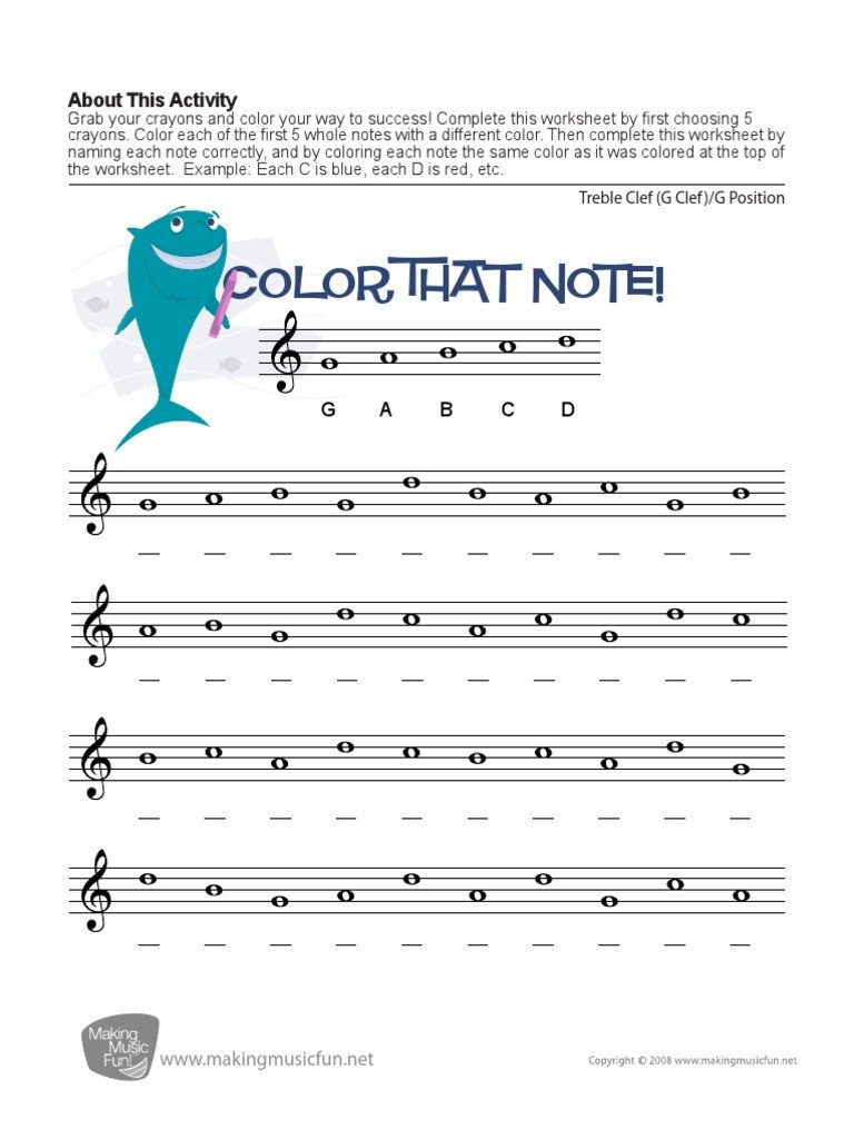 Color by Note Music Worksheet Color that Note Treble Clef G Position Pdf