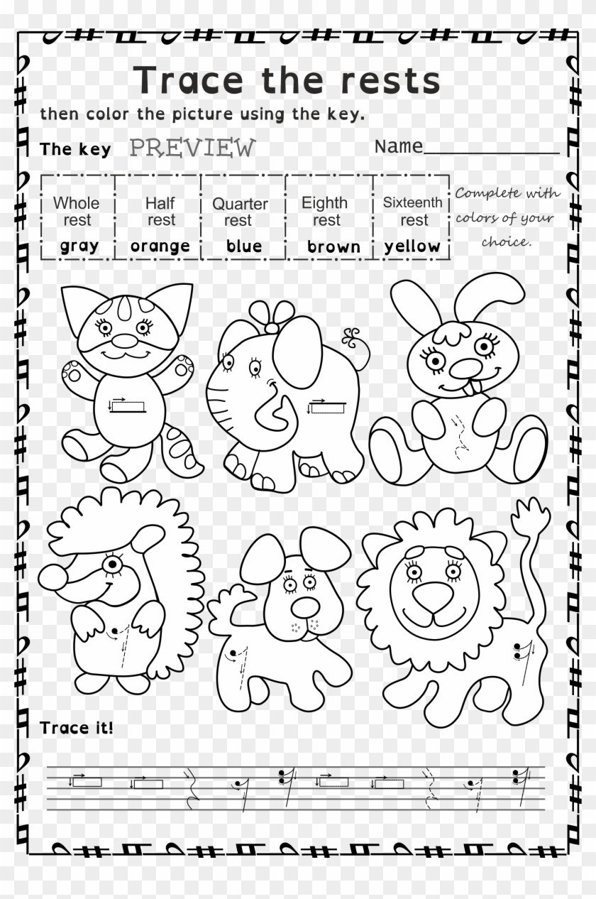 wRmRJx funny worksheets to trace basic music symbols for younger color by music