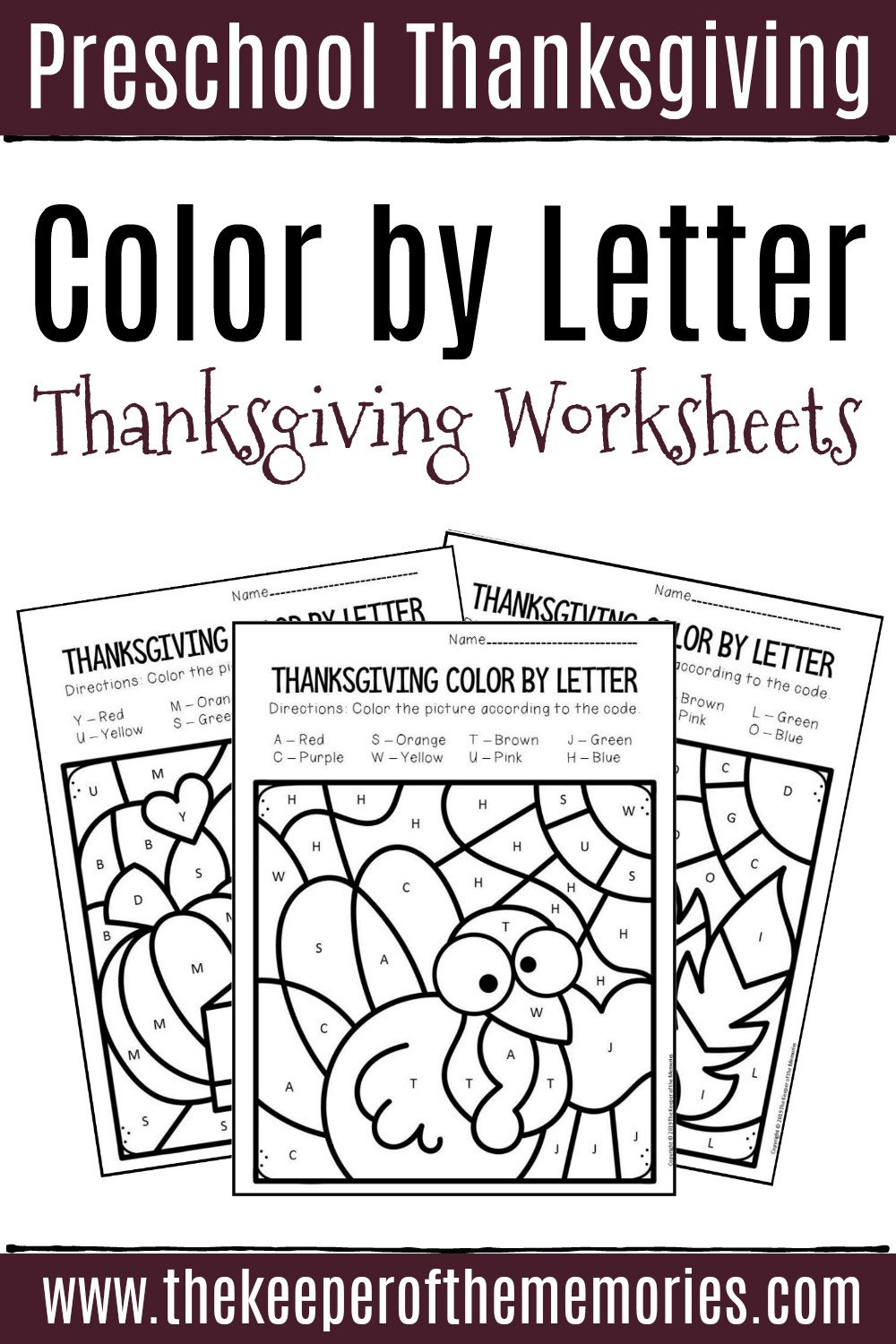 Color by Letter Thanksgiving Preschool Worksheets 1