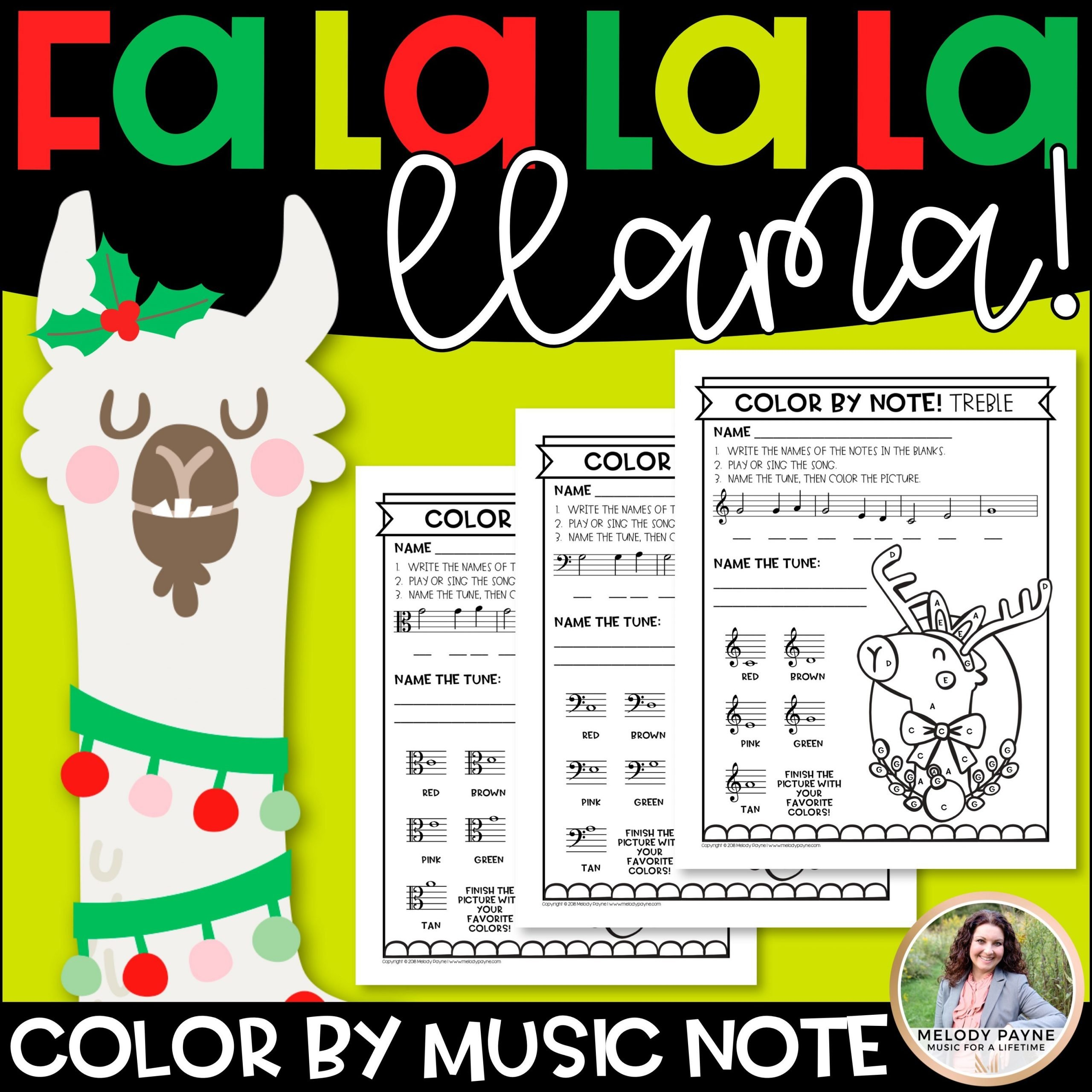 Christmas Llamas Color by Music Cover 1