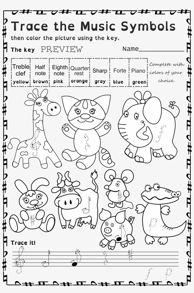 cosy color naming worksheets for yourusic symbols coloring pages fantastic photo ideas cosy line art