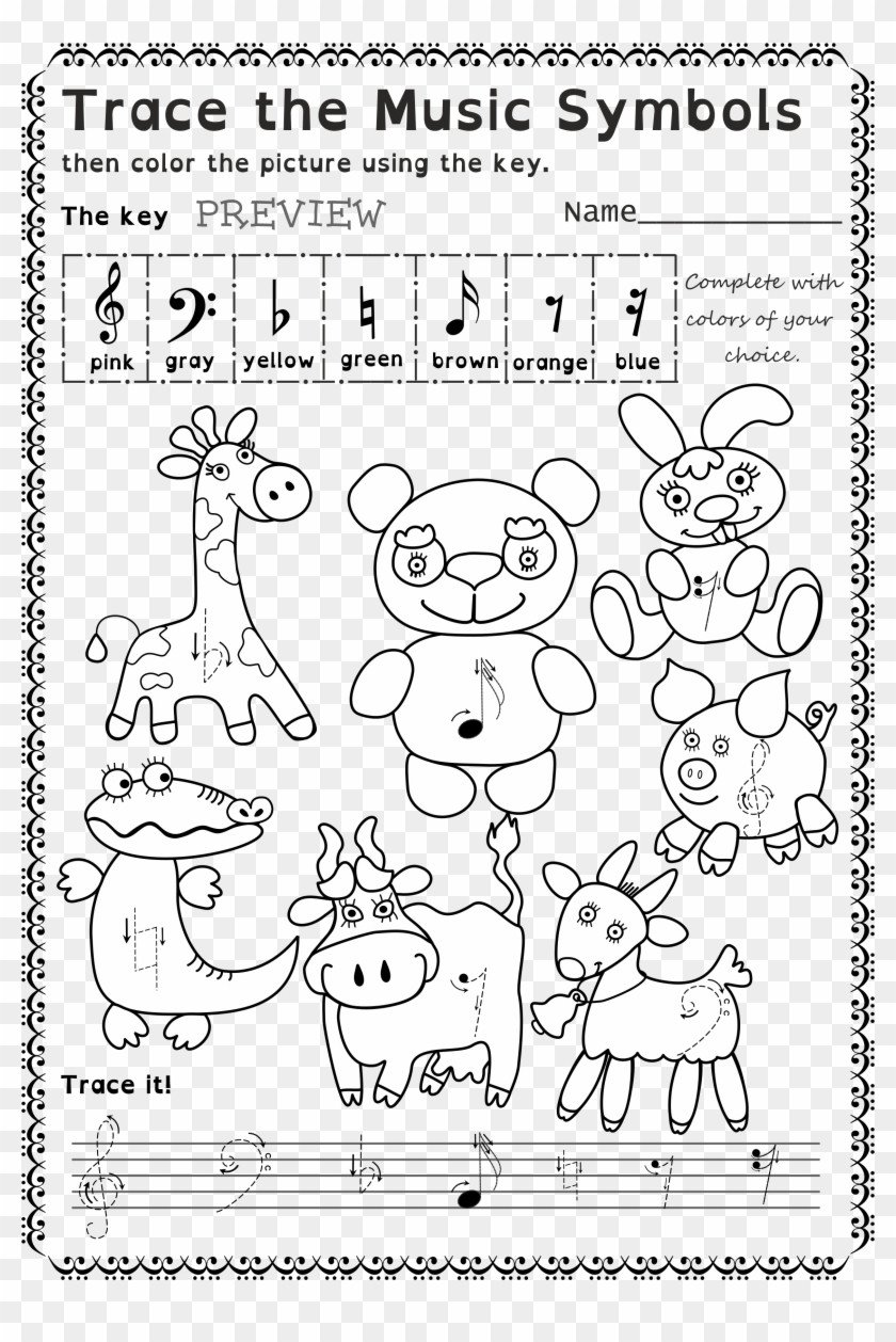 TxmJxm funny worksheets to trace basic music symbols for younger musical note clipart