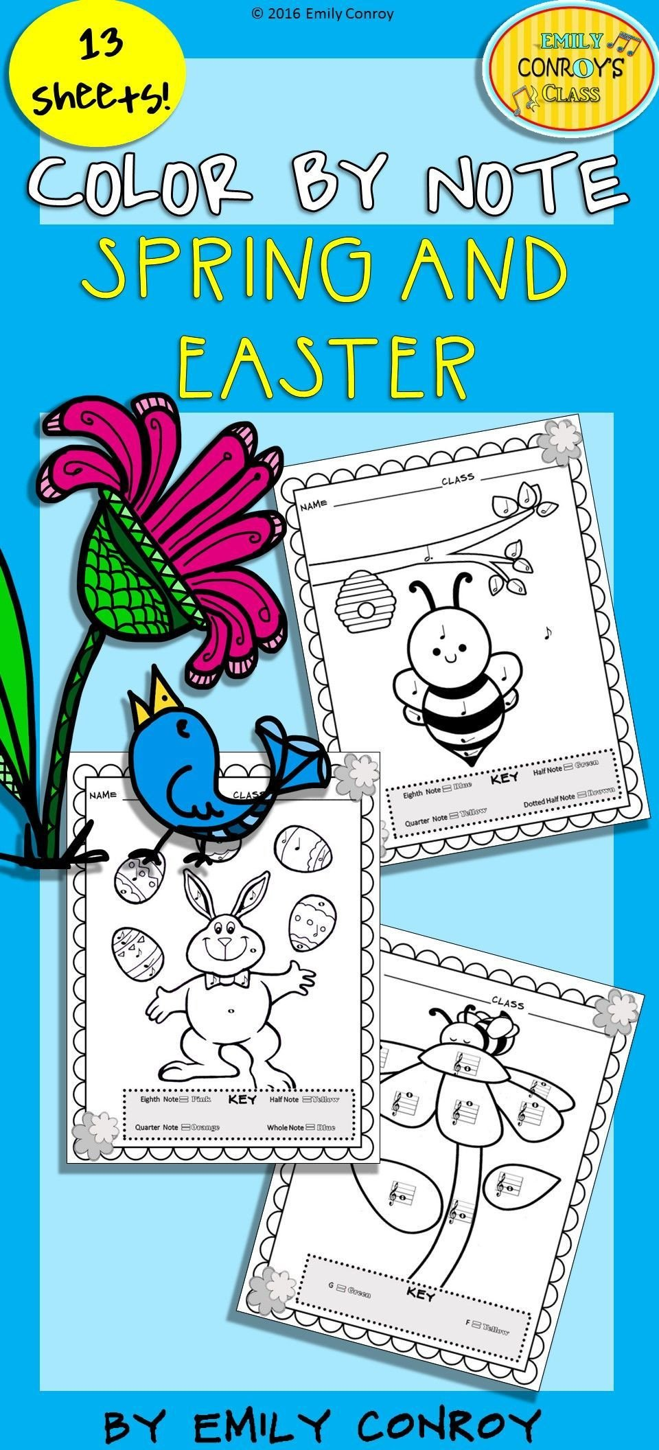 Color by Note Worksheets Spring Music Coloring Sheets Spring & Easter Color by Note
