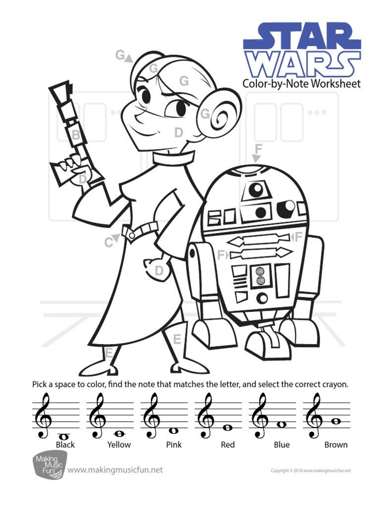 Color by Note Worksheets Star Wars Color by Note Worksheet Tc Pdf