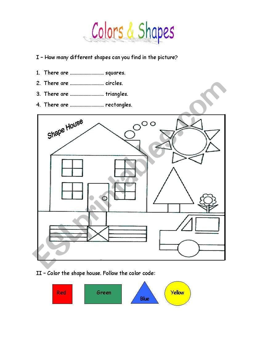 Color by Shape Worksheet Colors & Shapes Esl Worksheet by Lucka20