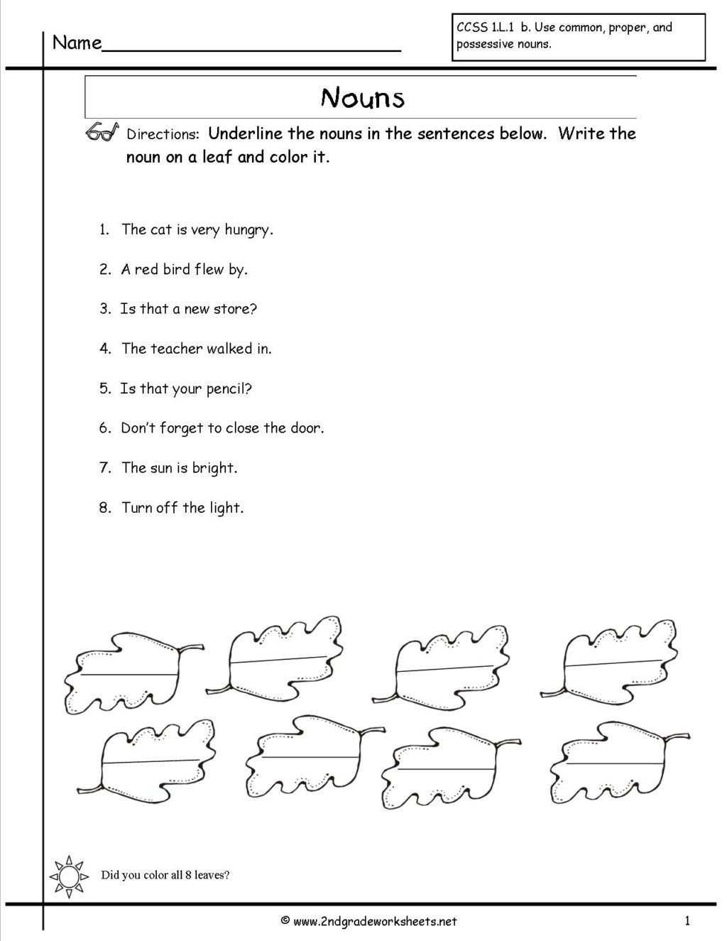 Color the Nouns Worksheet Worksheet Free Printable English Worksheets for Grade with