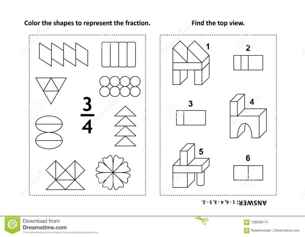 Color the Shapes Worksheet Worksheet Two Visual Math Puzzles Coloring Pages Color