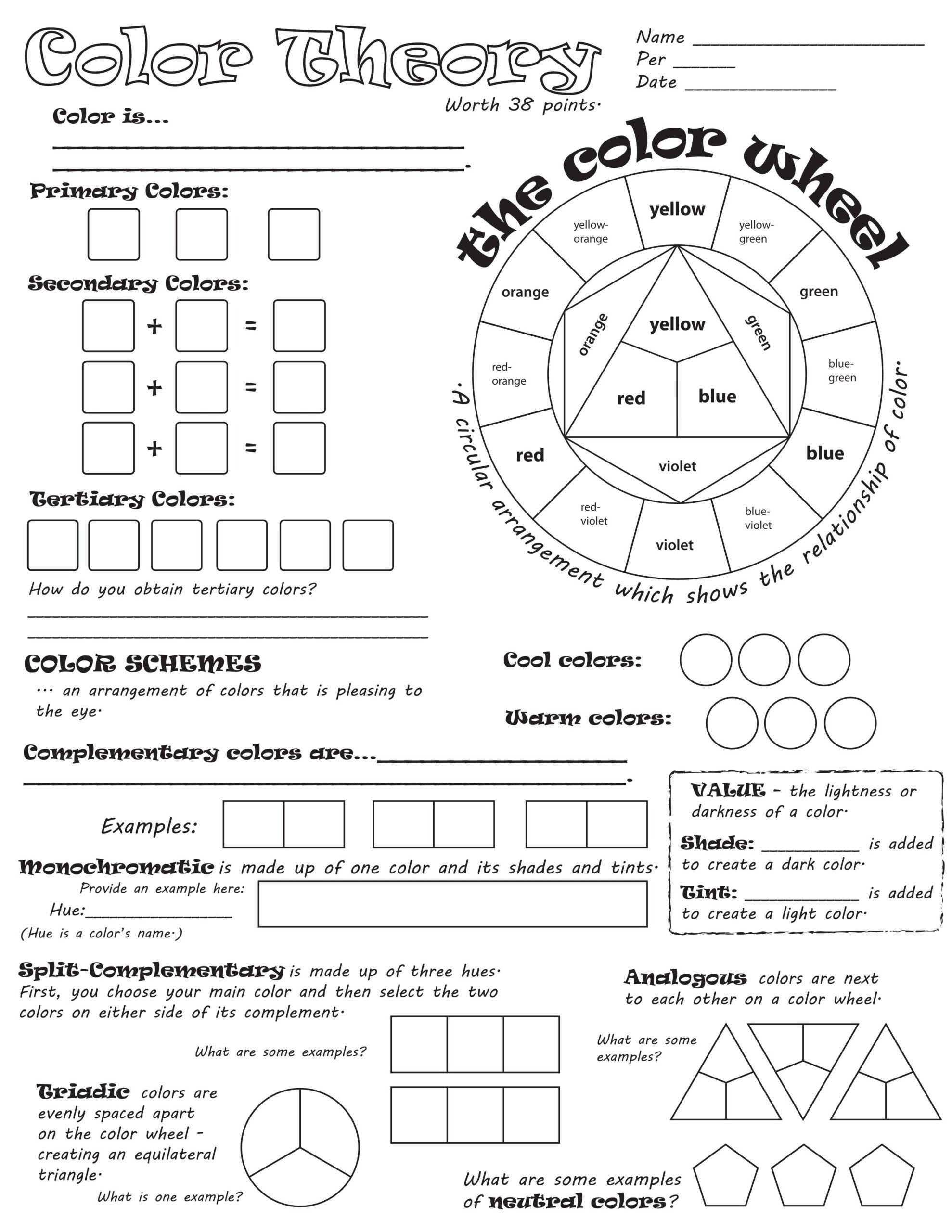 worksheet art education lessons elements of color 5th grade math 2