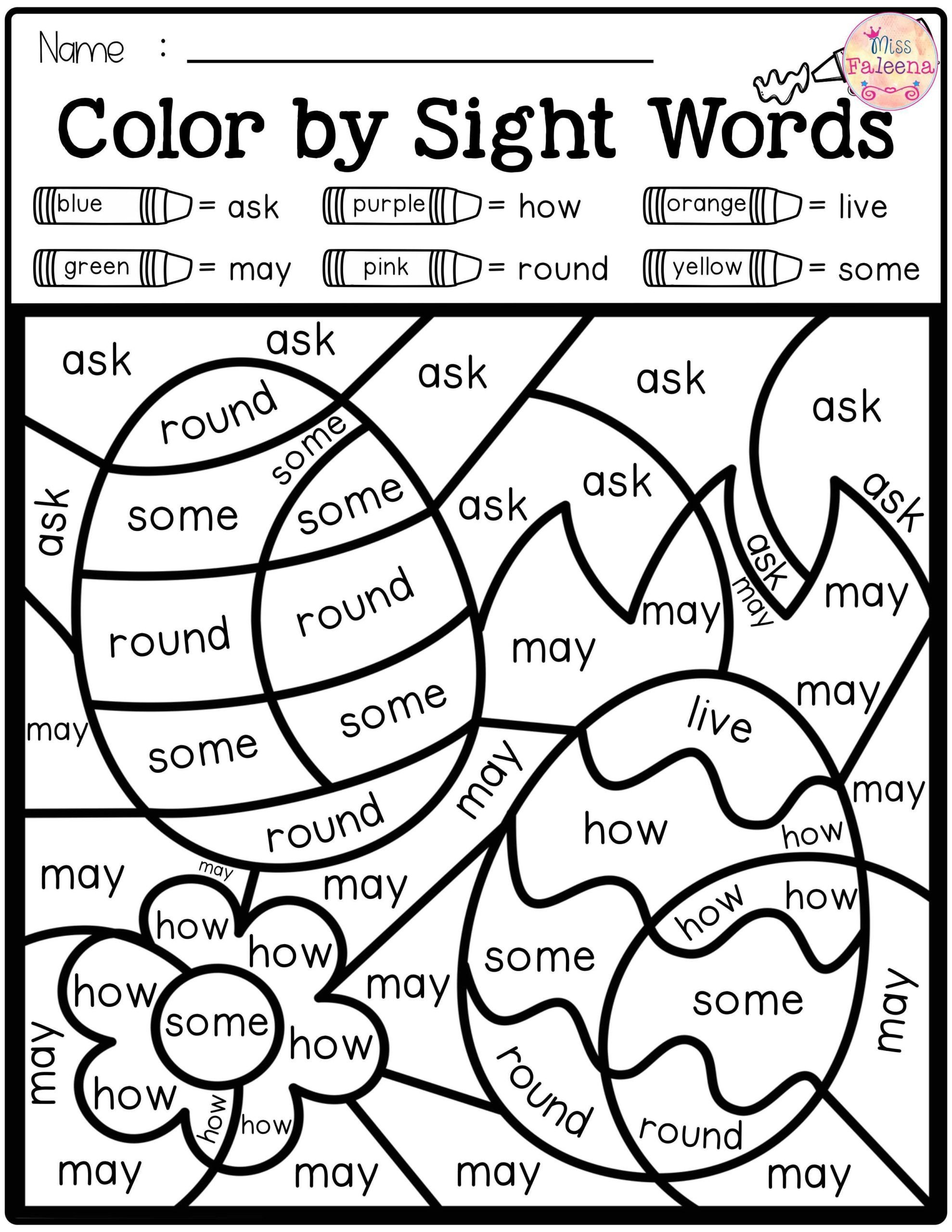 Color Word Worksheets Kindergarten astonishing Sight Word Coloring Pages – Stephenbenedictdyson