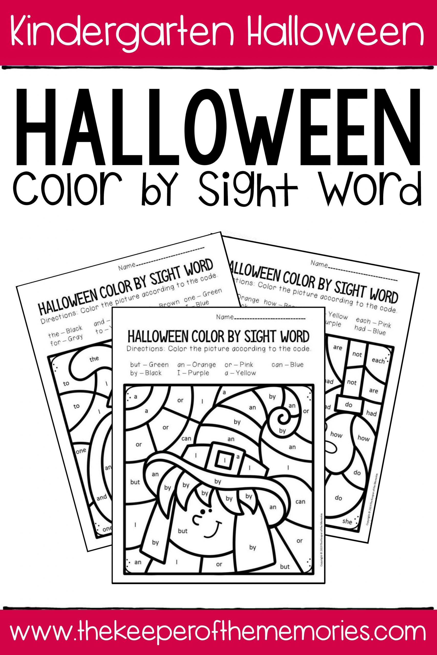 Color Word Worksheets Kindergarten Color by Sight Word Halloween Kindergarten Worksheets