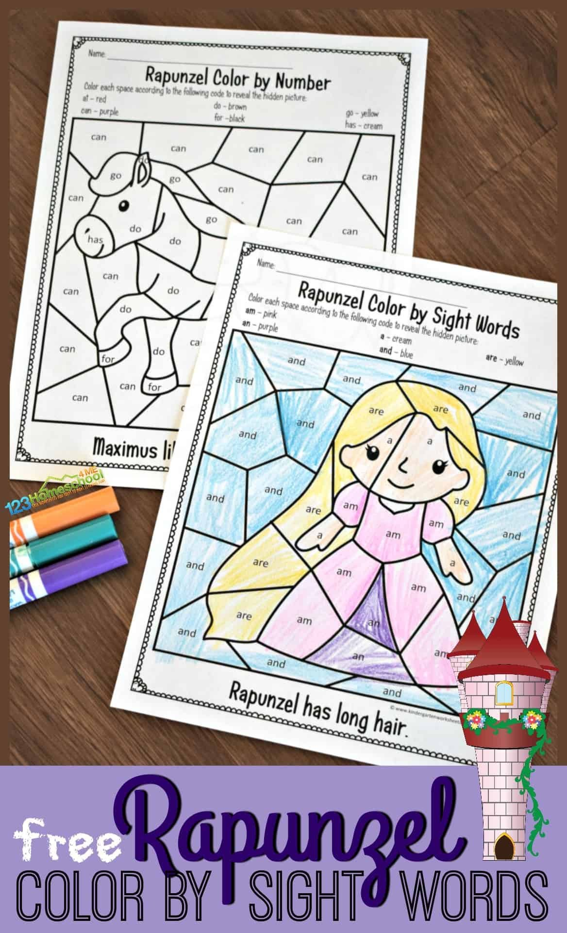 Color Word Worksheets Kindergarten Free Rapunzel Sight Words Coloring