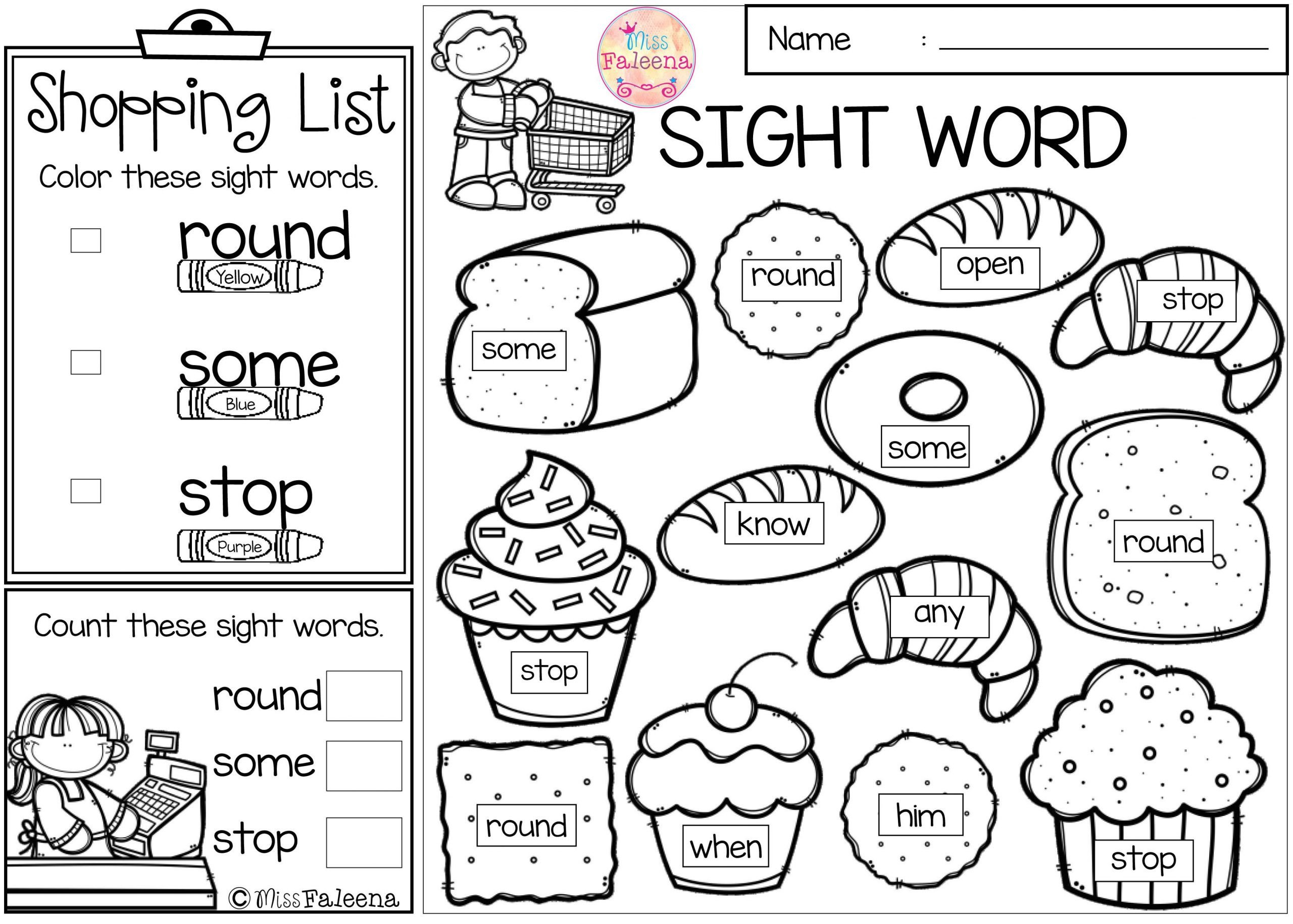 Free Sight Word Worksheets For Kindergarten Coloring Pages