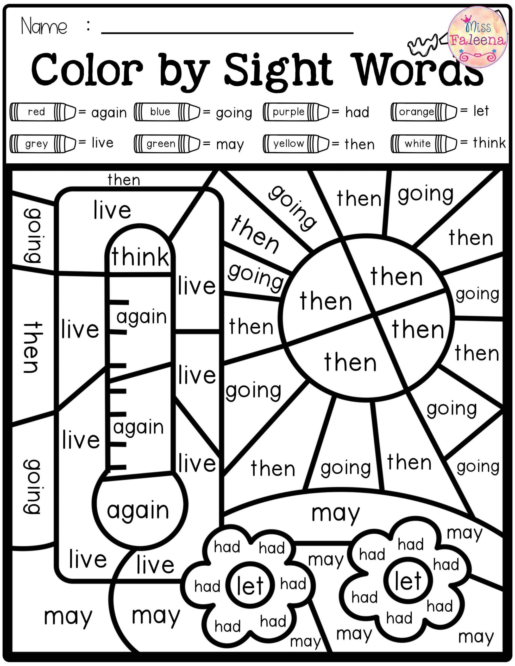 Color Word Worksheets Kindergarten Summer Color by Code Sight Words First Grade