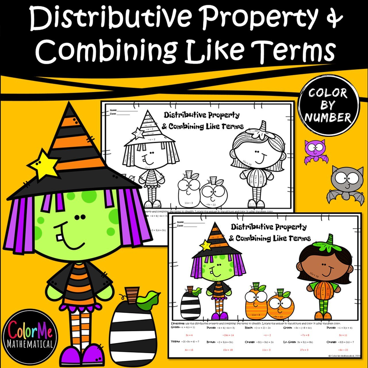 Combining Like Terms Coloring Worksheet Halloween Basic Algebra Distributive Property & Bining Like Terms