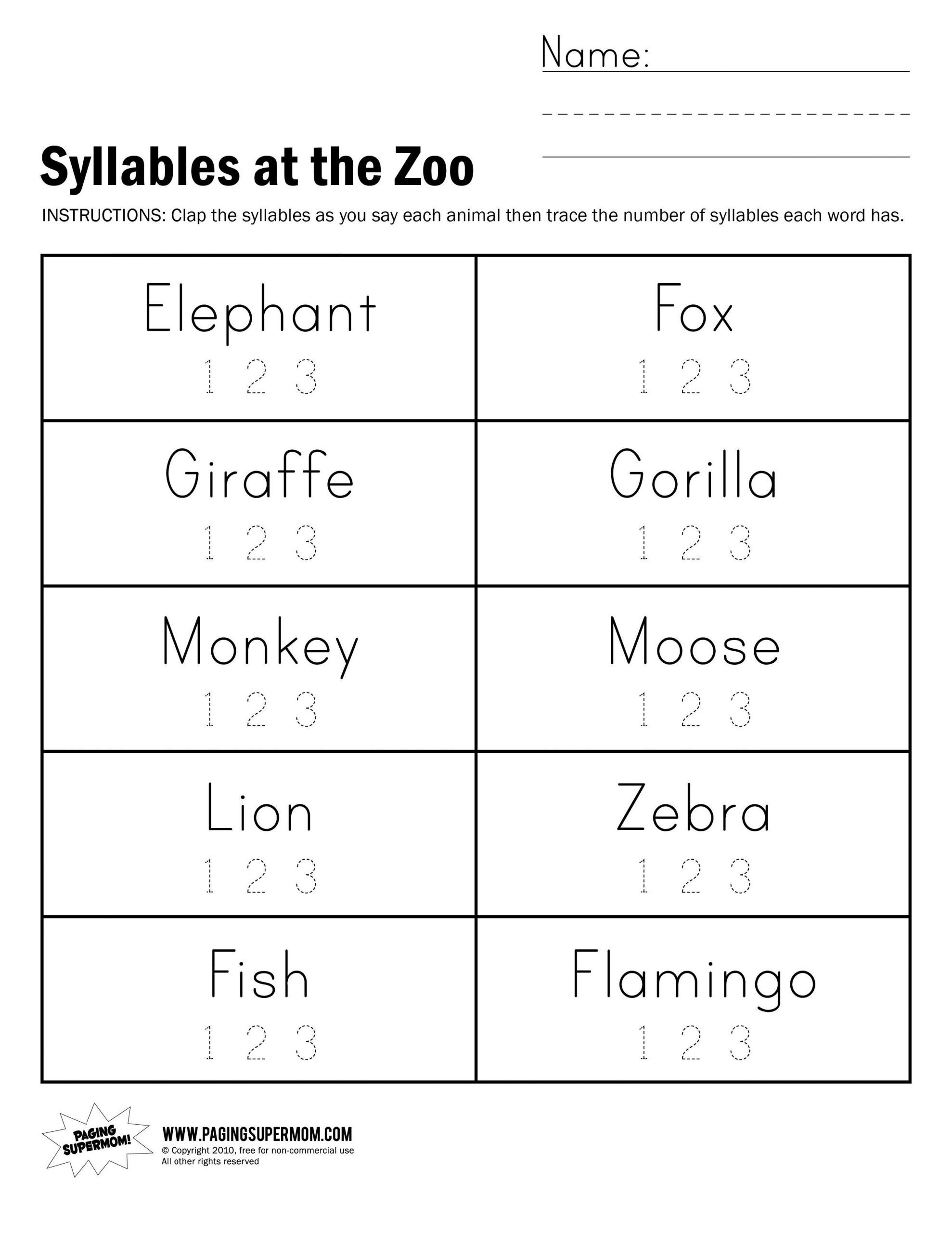 syllable worksheet for kindergarten scaled