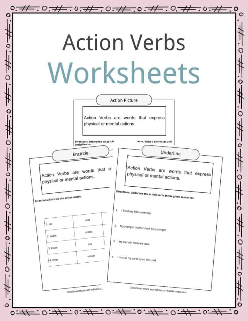 Compound Words Worksheets Kindergarten Action Verbs Worksheets Examples Sentences & Definition