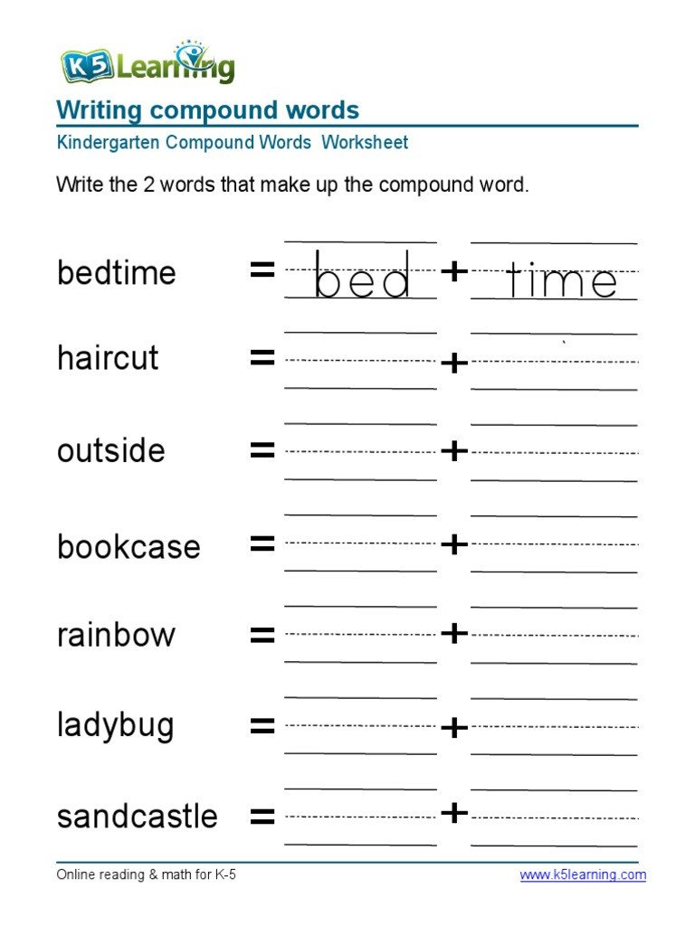 Compound Words Worksheets Kindergarten Bed Time Bedtime Haircut Outside Bookcase Rainbow Ladybug