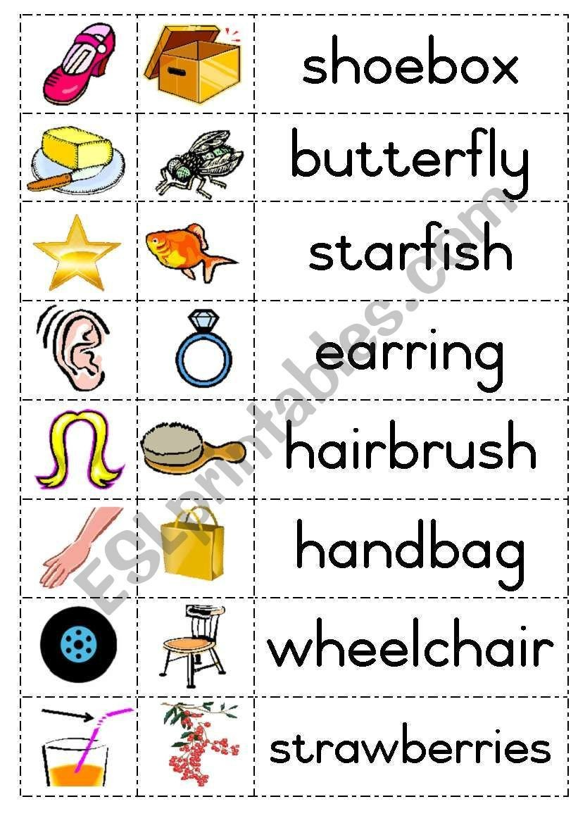 Compound Words Worksheets Kindergarten Build Pound Words with Picture Cards Eg Shoe Box