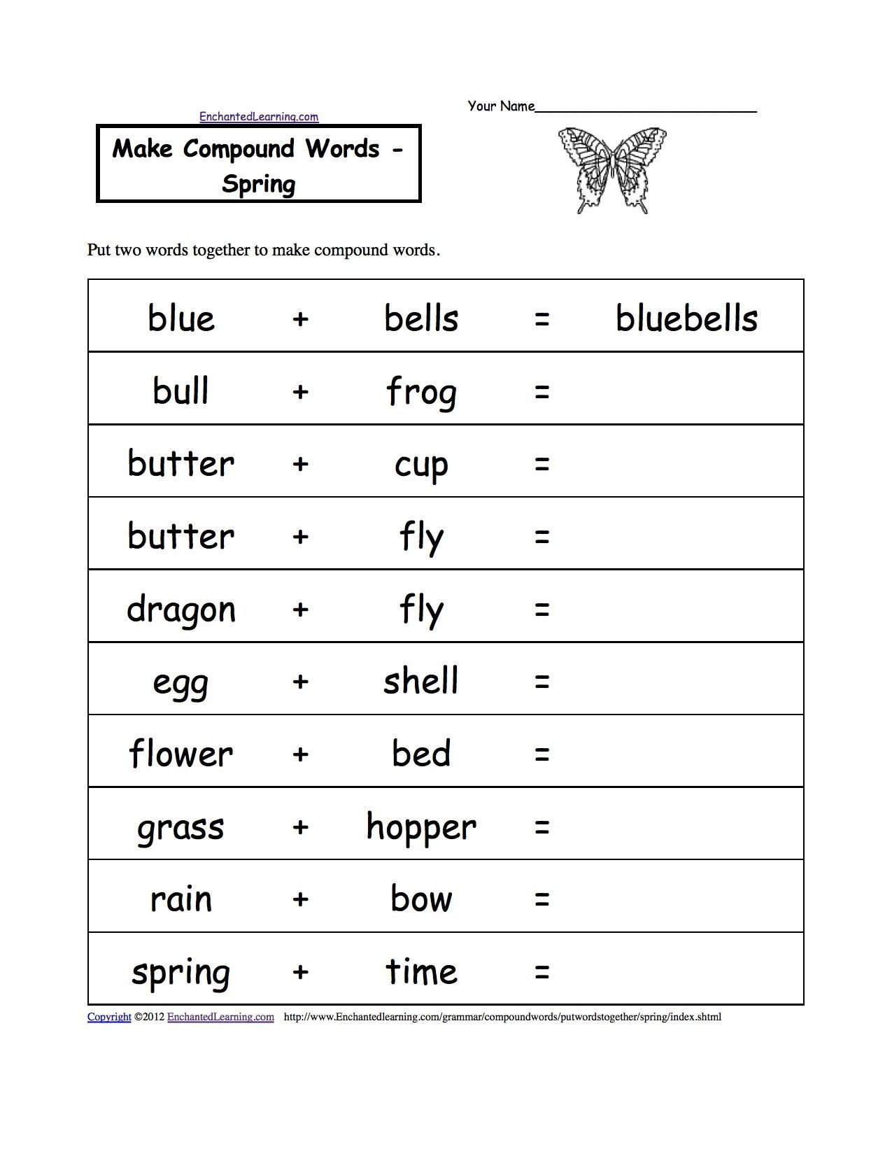 Compound Words Worksheets Kindergarten Pound Words Spring