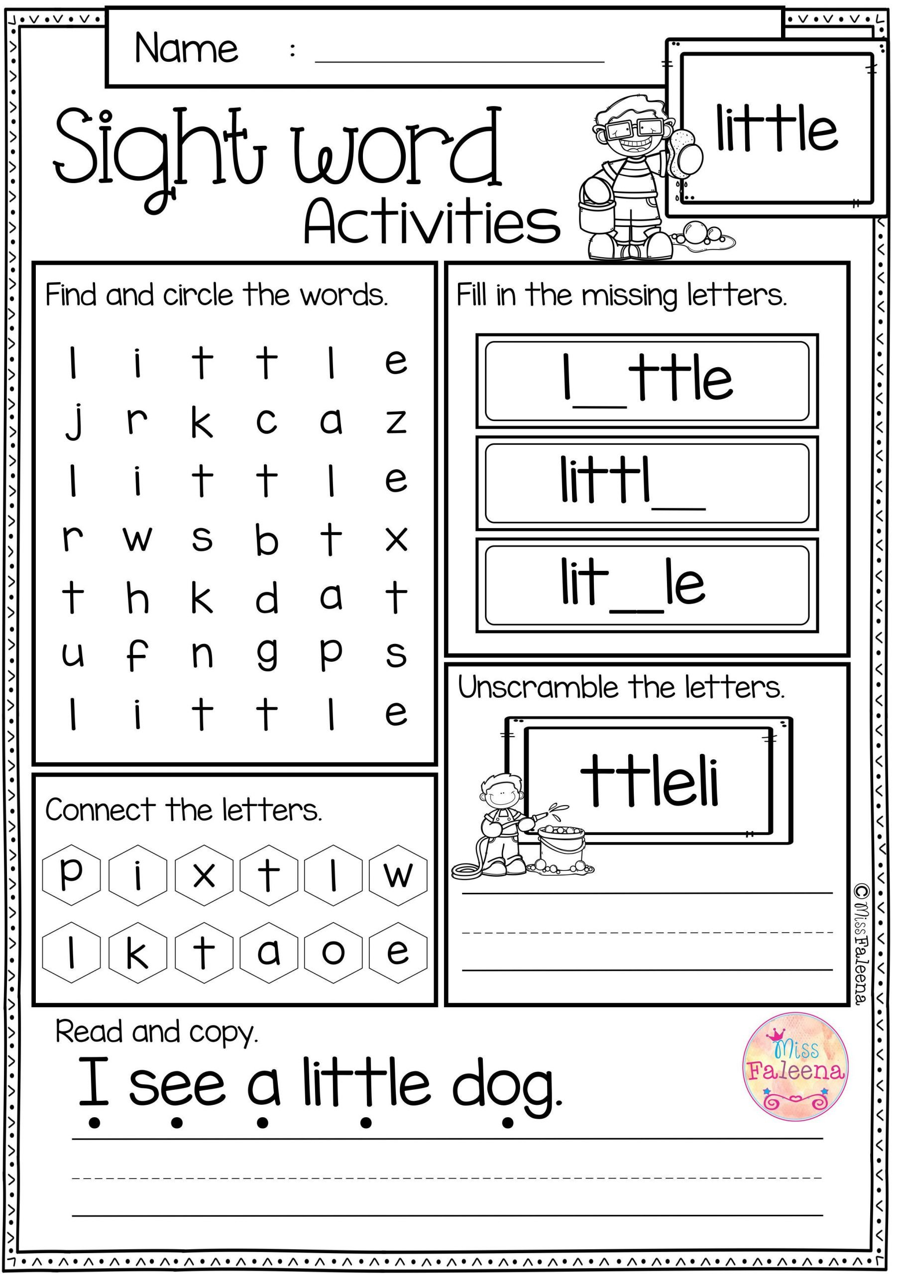 sight word activities pre primer rt sight word worksheets