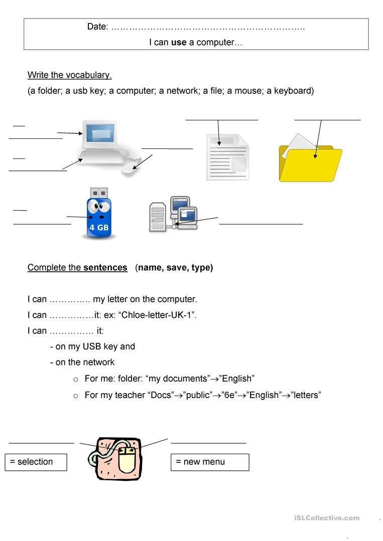 Computer Worksheet for Kindergarten Puter Vocabulary Worksheet Free Esl Printable